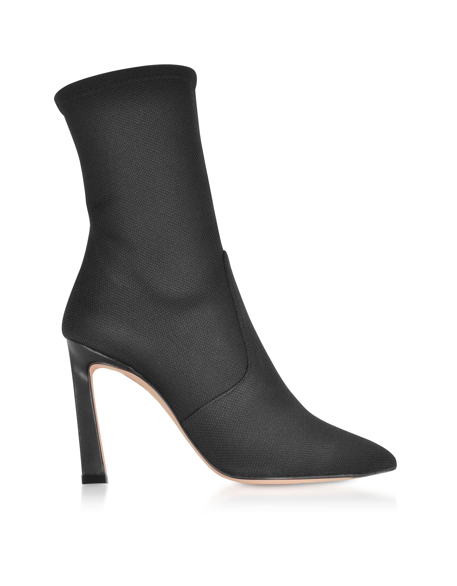 Stuart Weitzman Shoes, Rapture 100 Black Canvas High Heel Boots