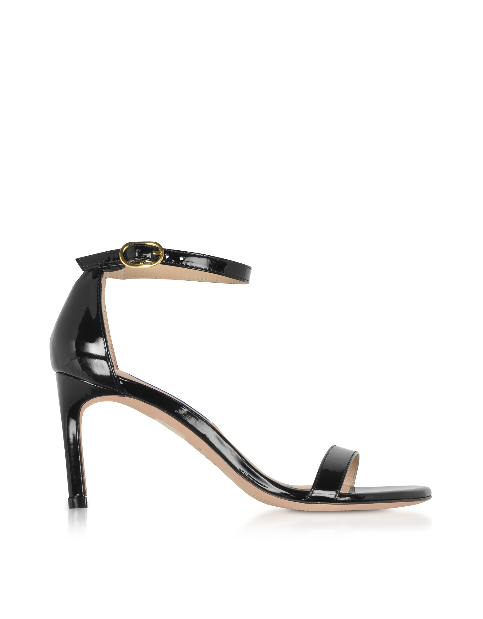 The Nunaked Straight Black Patent Leather Sandals