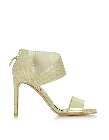 Stuart Weitzman - Getonup Pale Gold Nocturne Textured-lame Sandals
