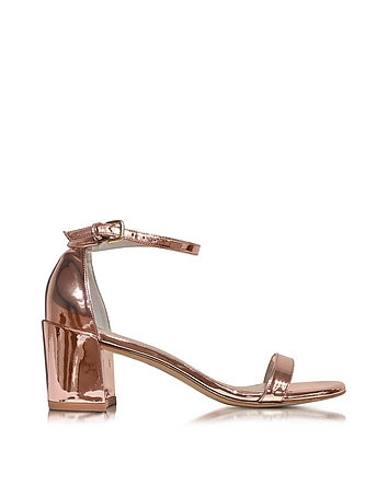 Simple Rose-Goldtone Laminated Leather Sandals