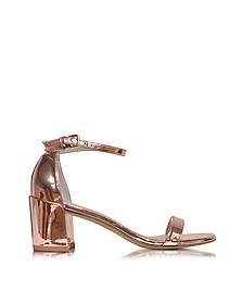 Simple Rose-Goldtone Glass Microfiber Sandals - Stuart Weitzman