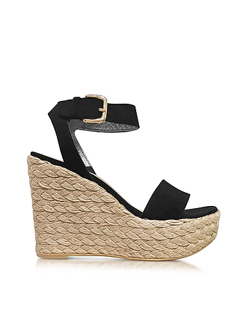 Stuart Weitzman - Letsdance Black Suede Wedge Sandals