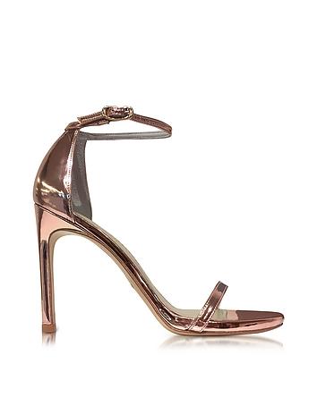 Stuart Weitzman - Nudistsong Rose Gold-tone Glass Microfiber High Heel Sandals