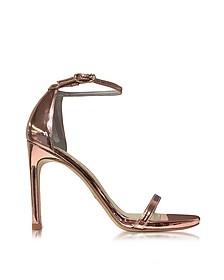 Nudistsong Rose Gold-tone Glass Microfiber High Heel Sandals - Stuart Weitzman