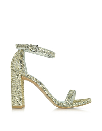 Stuart Weitzman - Walkway Chrome Glitter Lace High Heel Sandals