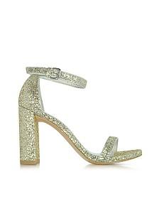 Walkway Chrome Glitter Lace High Heel Sandals - Stuart Weitzman