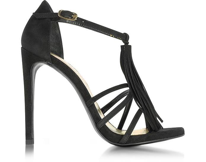 Frabtion Black Suede Tassel Sandals - Stuart Weitzman
