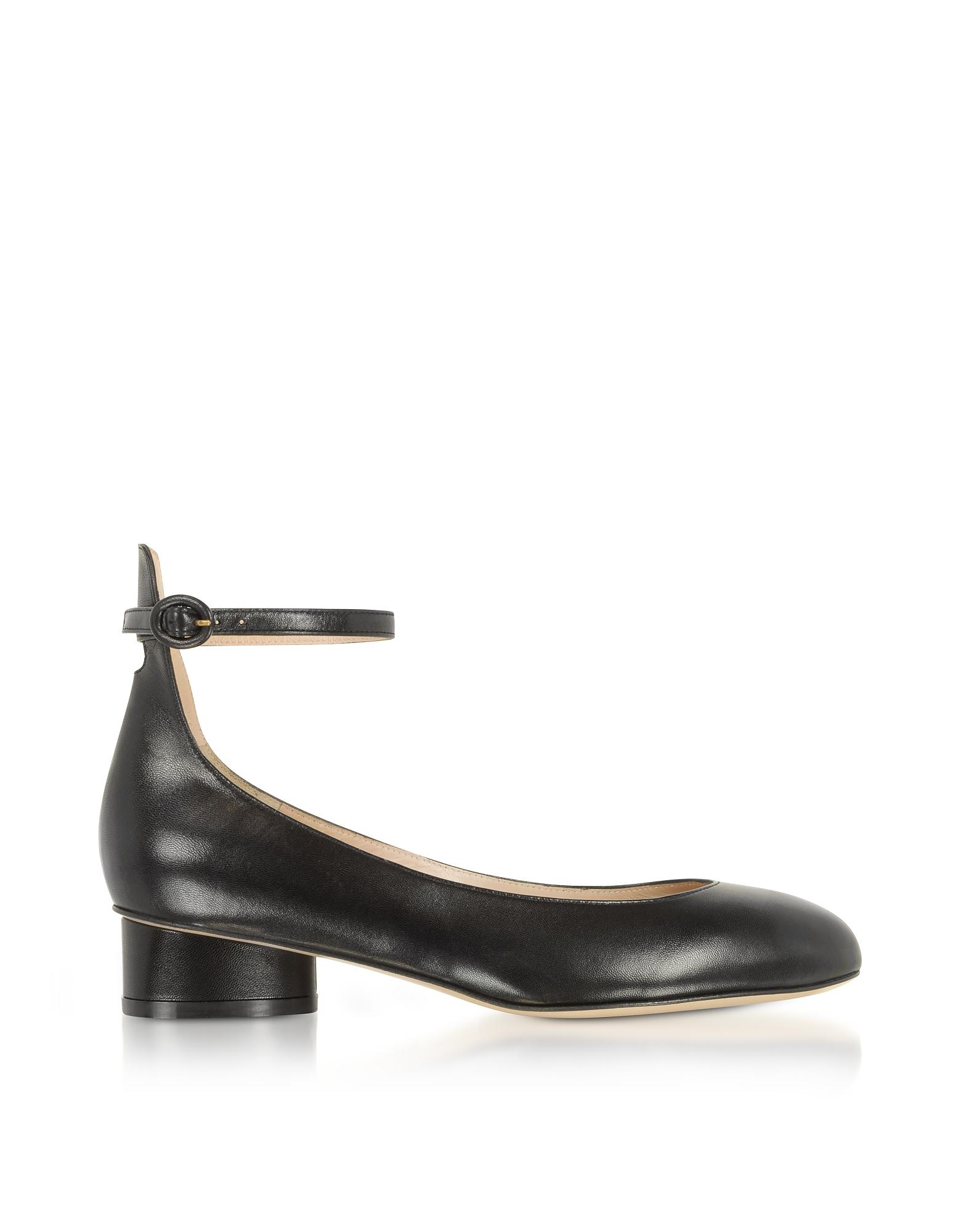 Polly Black Leather Mid-Heel Pump