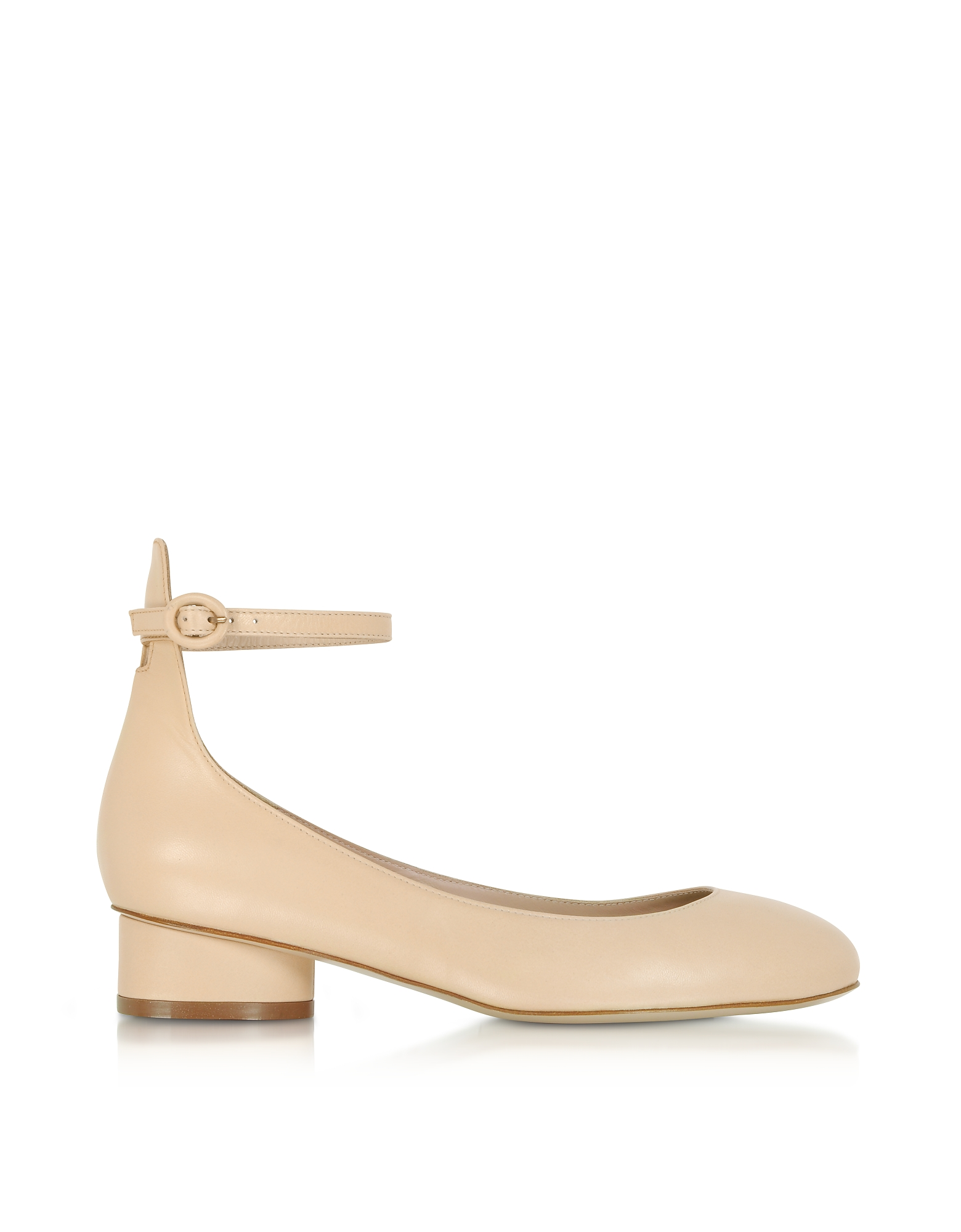 Polly Blush Leather Mid-Heel Pumps