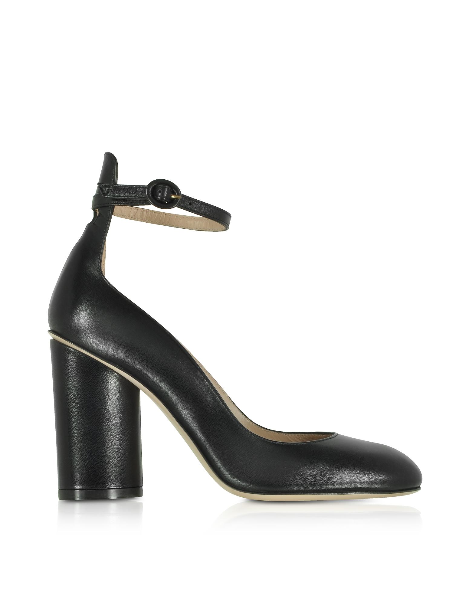 Pasadena Black Leather Heel Pumps