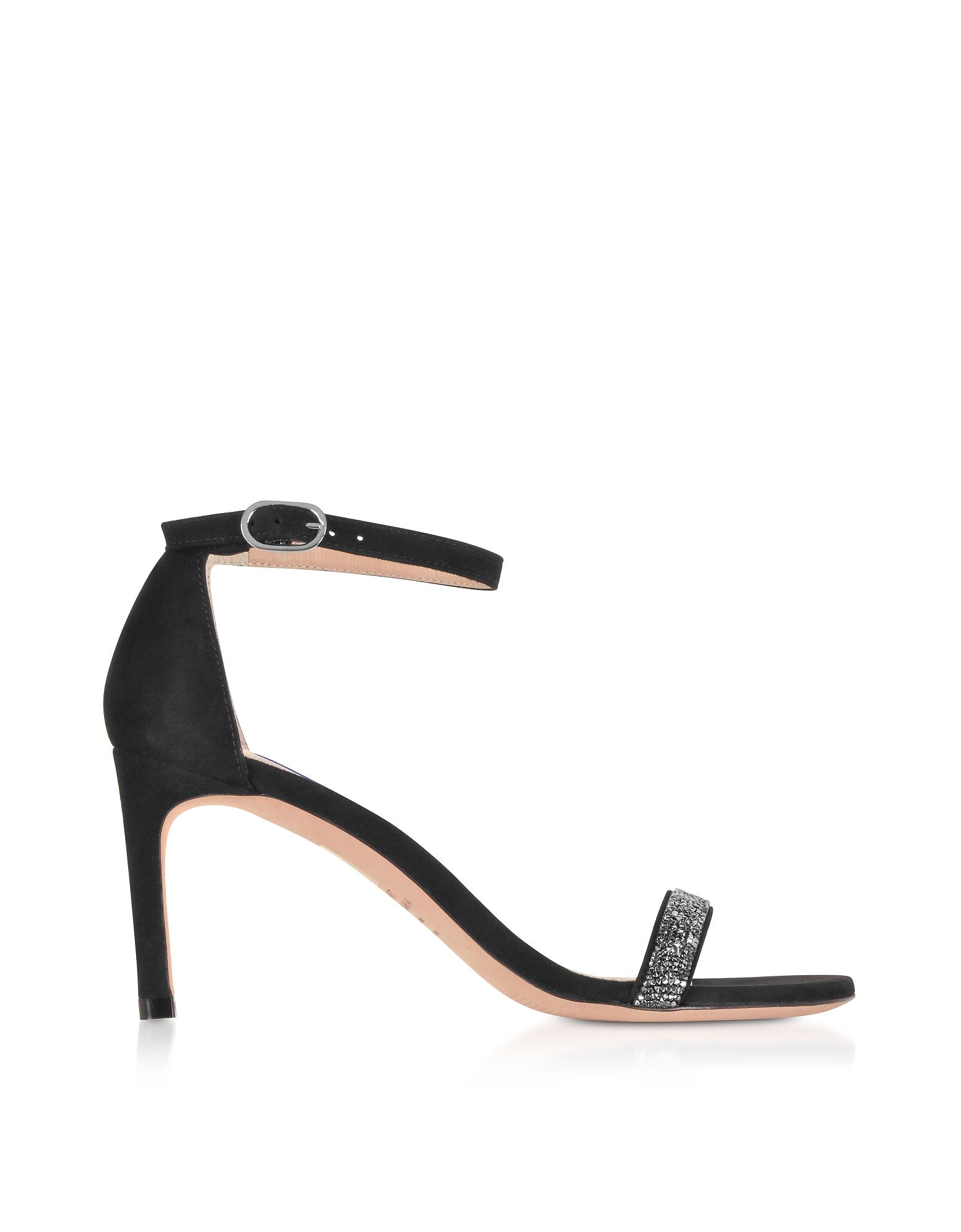 Nunakedstraight Black Suede and Crystals Mid-Heel Sandals