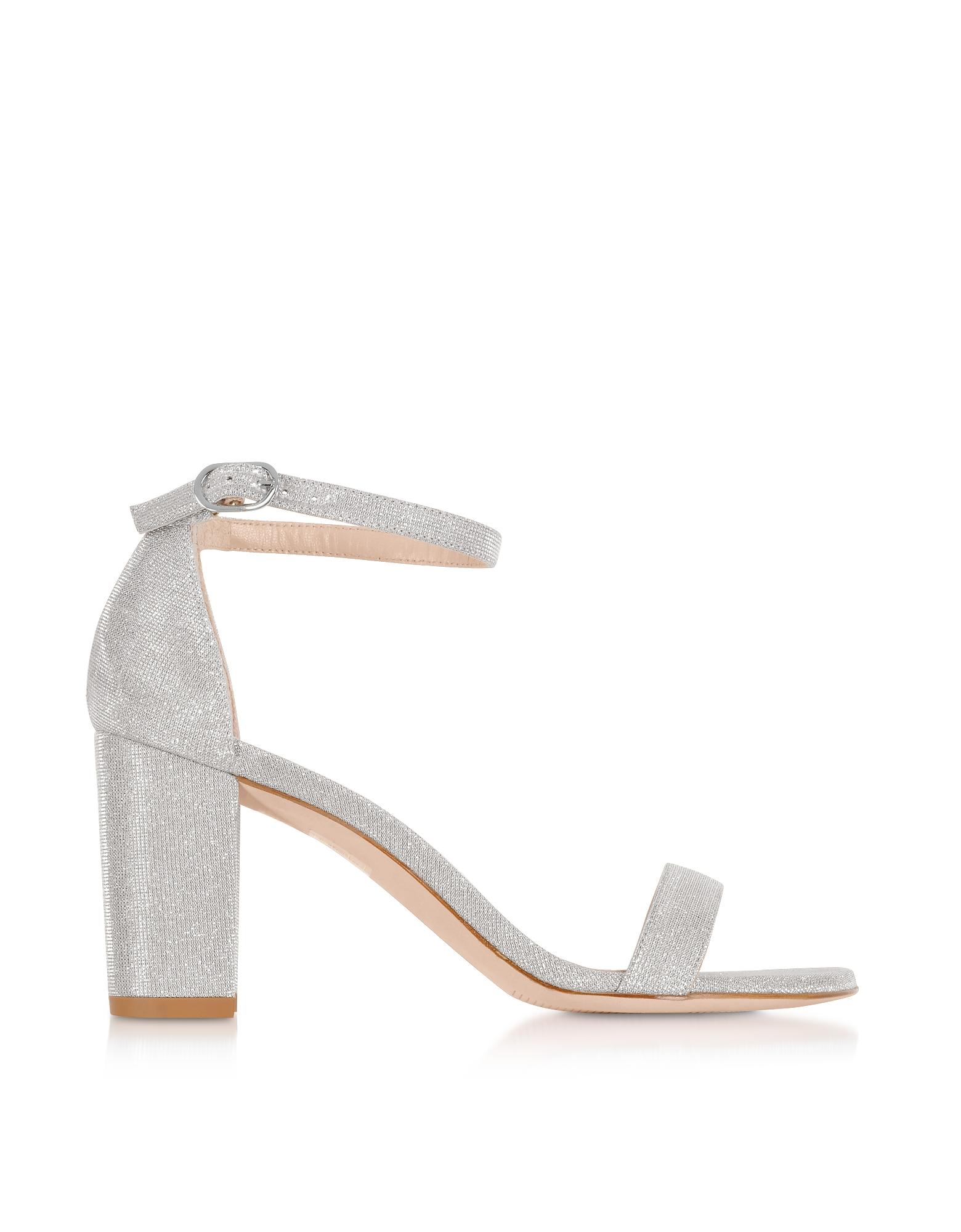 Nearlynude Silver Lurex Block Heel Sandals
