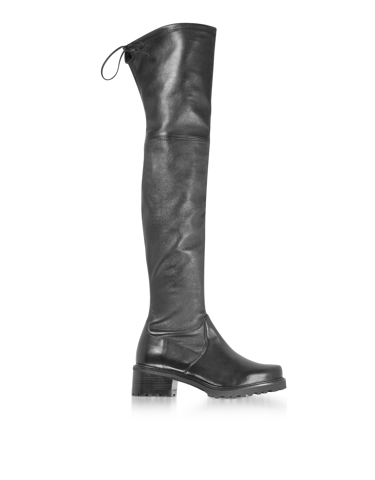 Stuart Weitzman Shoes, Vanland Black Stretch Leather Over The Knee Boots w/Brown Sole