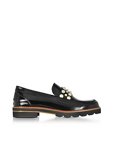 Mocpearl Jet Mirror Leather Loafers w/Pearls - Stuart Weitzman
