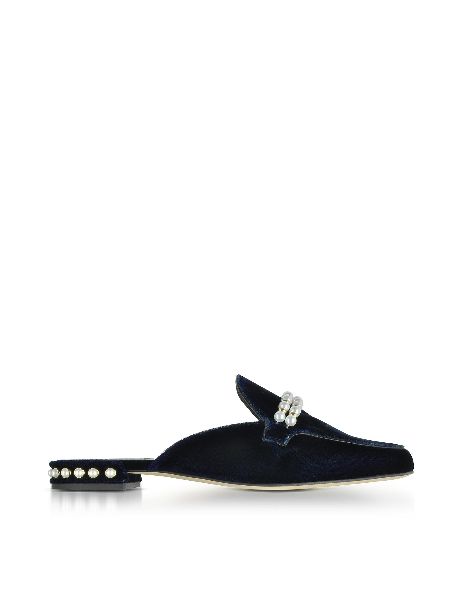 Stuart Weitzman Shoes, Guamule Navy Blue Velvet Flat Mules w/Pearls