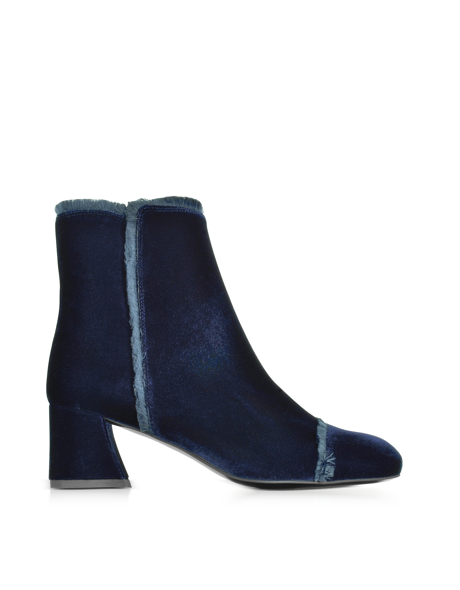Stuart Weitzman Shoes, Onthefringe Navy Blue Velvet Mid Heel Booties
