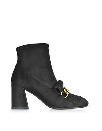 Stuart Weitzman - Ringleader Black Ultra Stretch Suede Heel Boots w/Fringes and Golden Chain