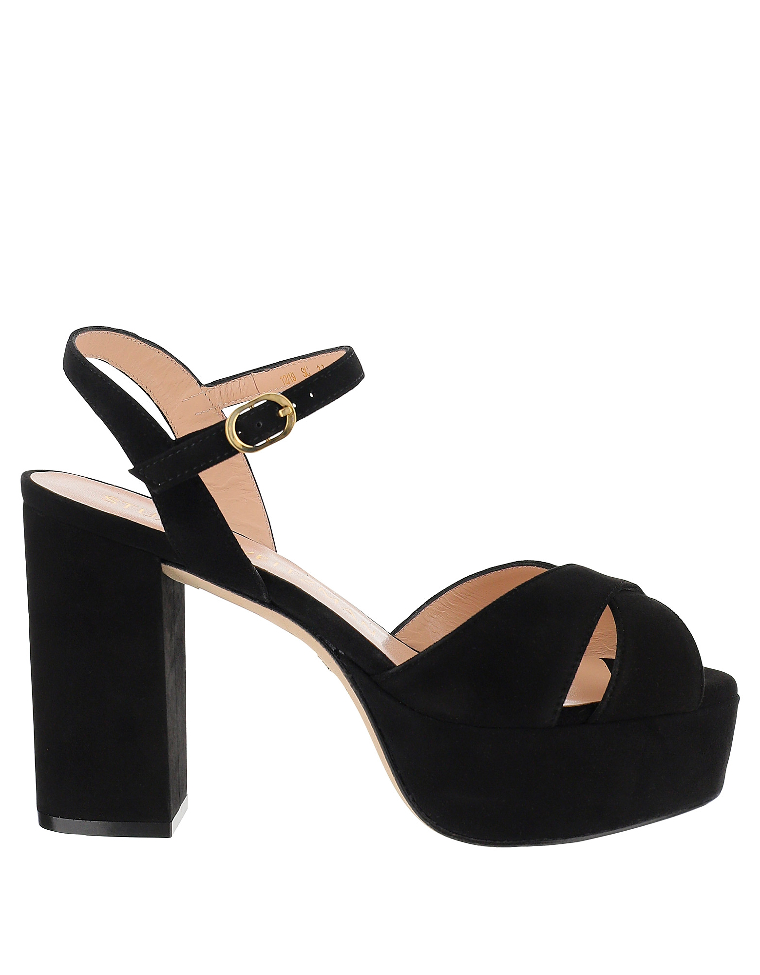 Stuart Weitzman Designer Shoes, Black Suede Platform Ivona Sandals