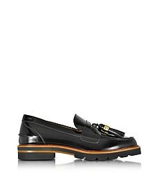 Manila Black Mirror Leather Tassel Loafer - Stuart Weitzman
