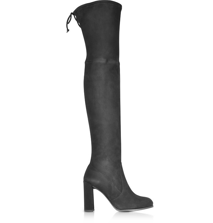 Hiline Black Suede Heel Over The Knee Boots - Stuart Weitzman