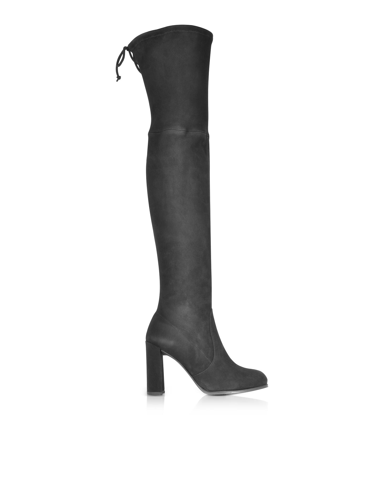 Stuart Weitzman Shoes, Hiline Black Suede Heel Over The Knee Boots
