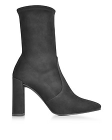 Clinger Black Suede High Heel Booties - Stuart Weitzman