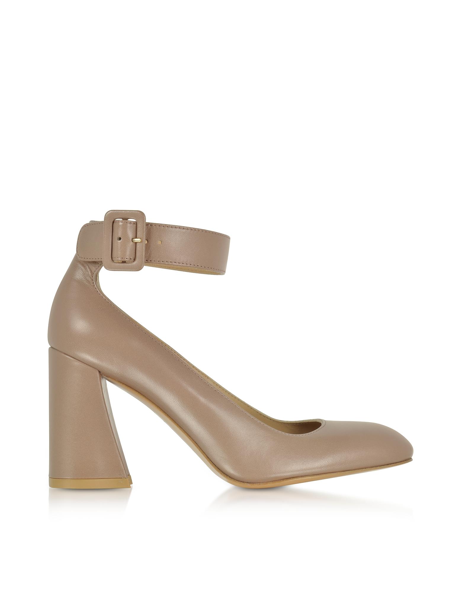 Stuart Weitzman Shoes, Clarisa Mouse Nappa Leather Ankle Strap Pumps