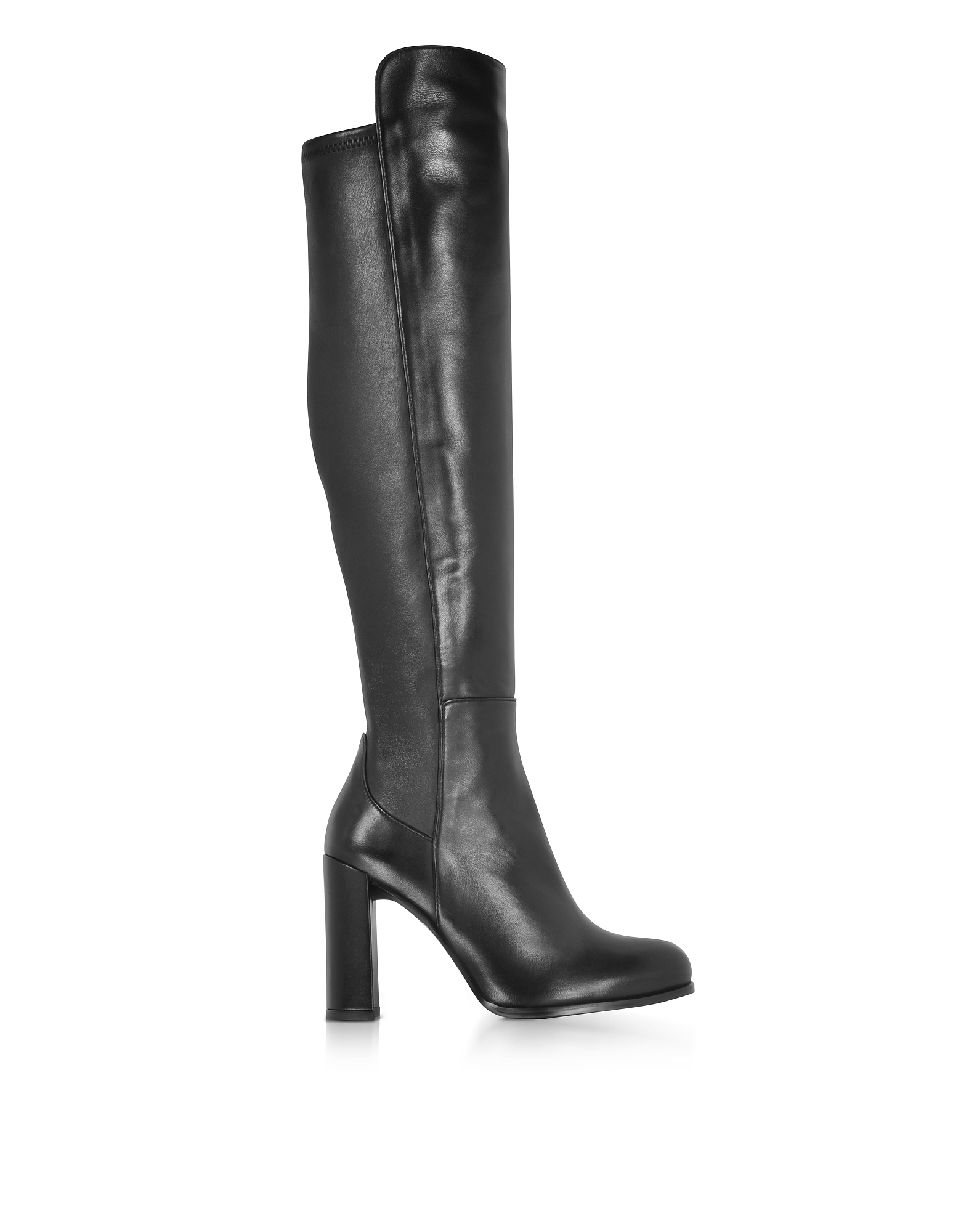 Stuart Weitzman Alljill Black Stretch Leather High Heel Over The Knee Boots