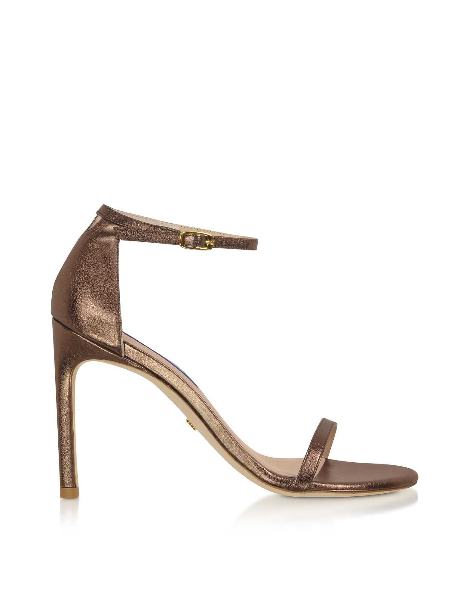 Bronze Laminated Nappa High-Heel Sandals