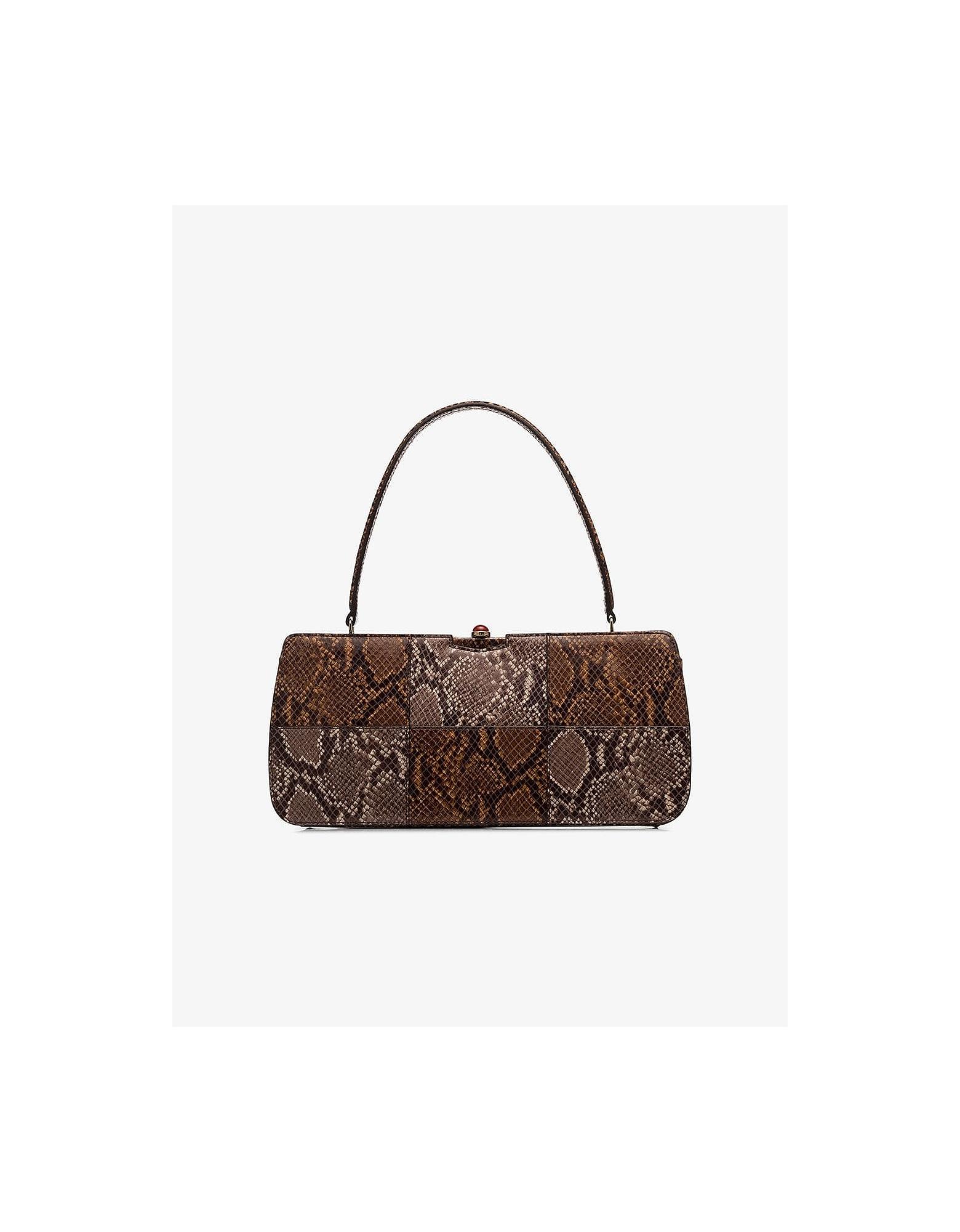 Staud Designer Handbags, Brown Whitney Snake Leather Shoulder Bag