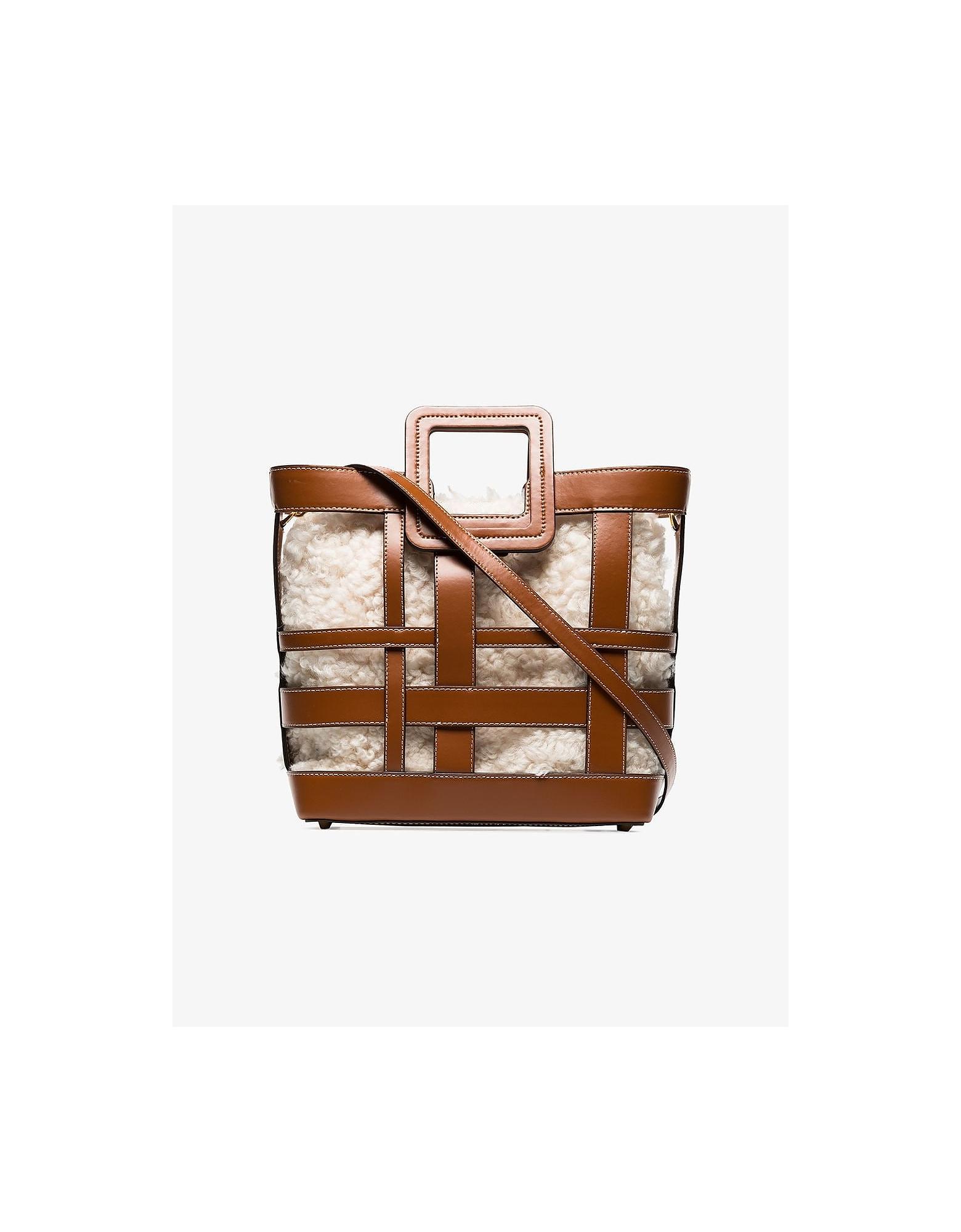 Staud Designer Handbags, Plaid Shirley Shearling Leather Tote Bag