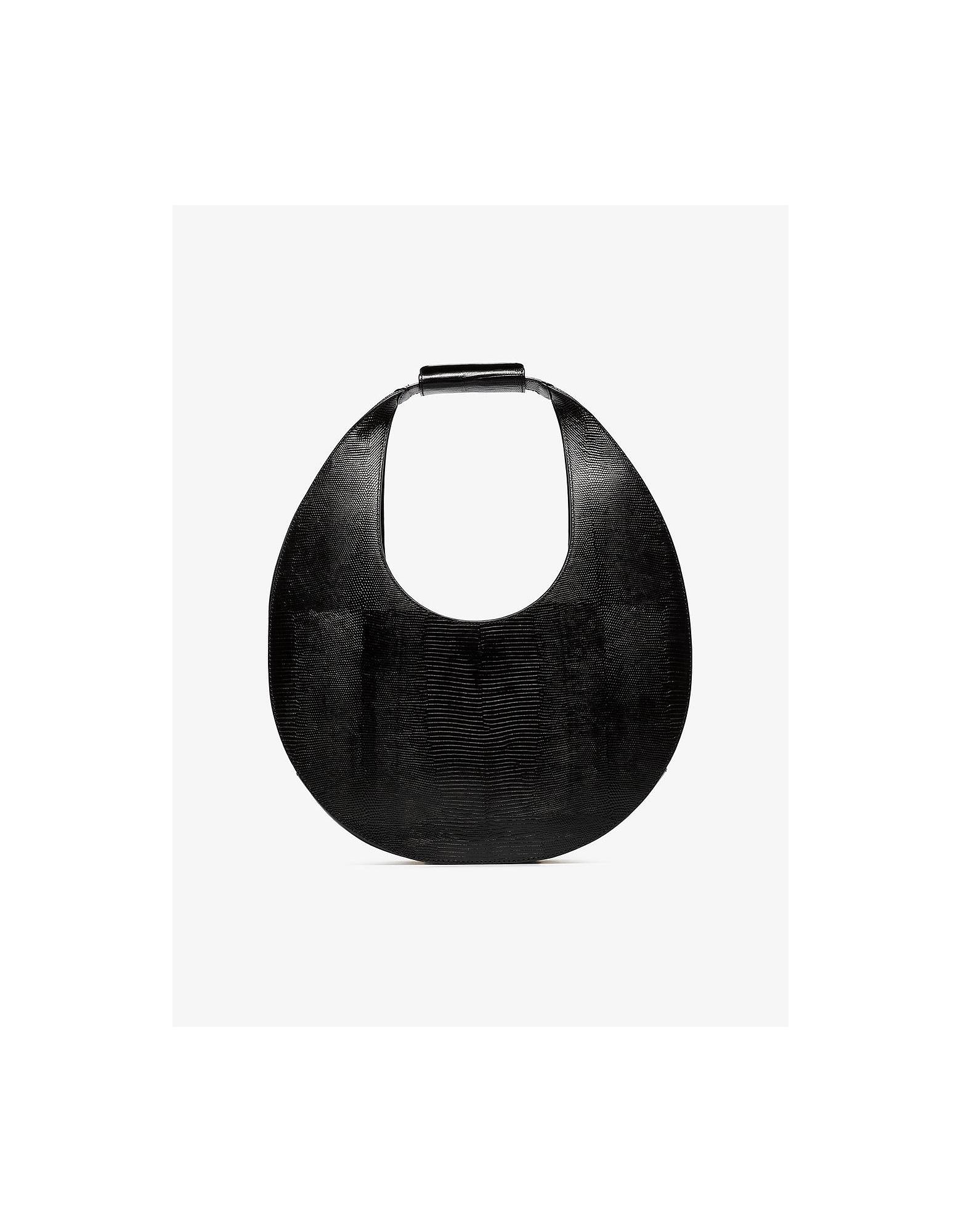 Staud Designer Handbags, Large Moon Lizard Embossed Shoulder Bag