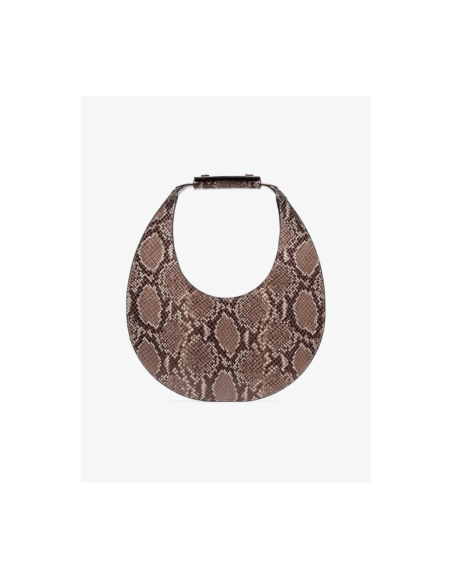 Staud Designer Handbags, Moon Snake Embossed Leather Shoulder Bag