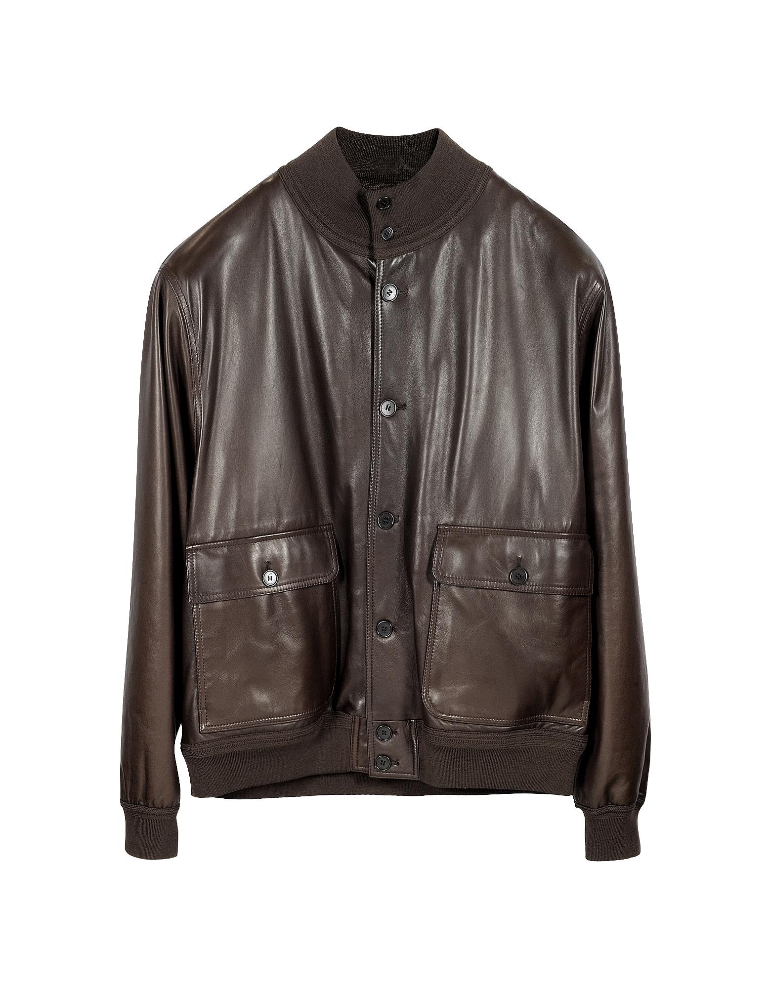 Темно-коричневая Мужская Кожаная Куртка с Подкладкой из Кашемира