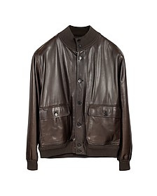 Men's Dark Brown Leather Jacket w/Chasmere Lining - Schiatti & C.