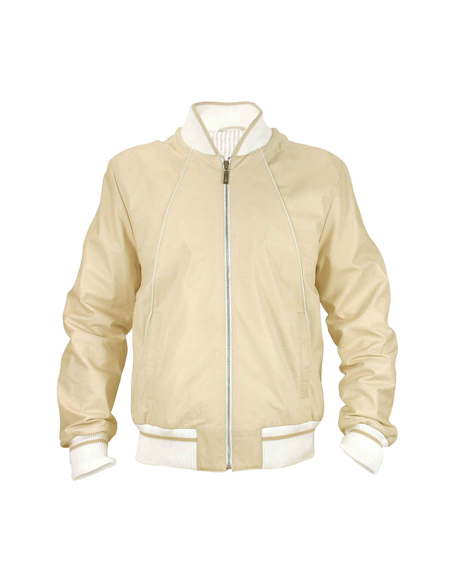 Мужская Бежевая Куртка из Кожи Наппа на Молнии