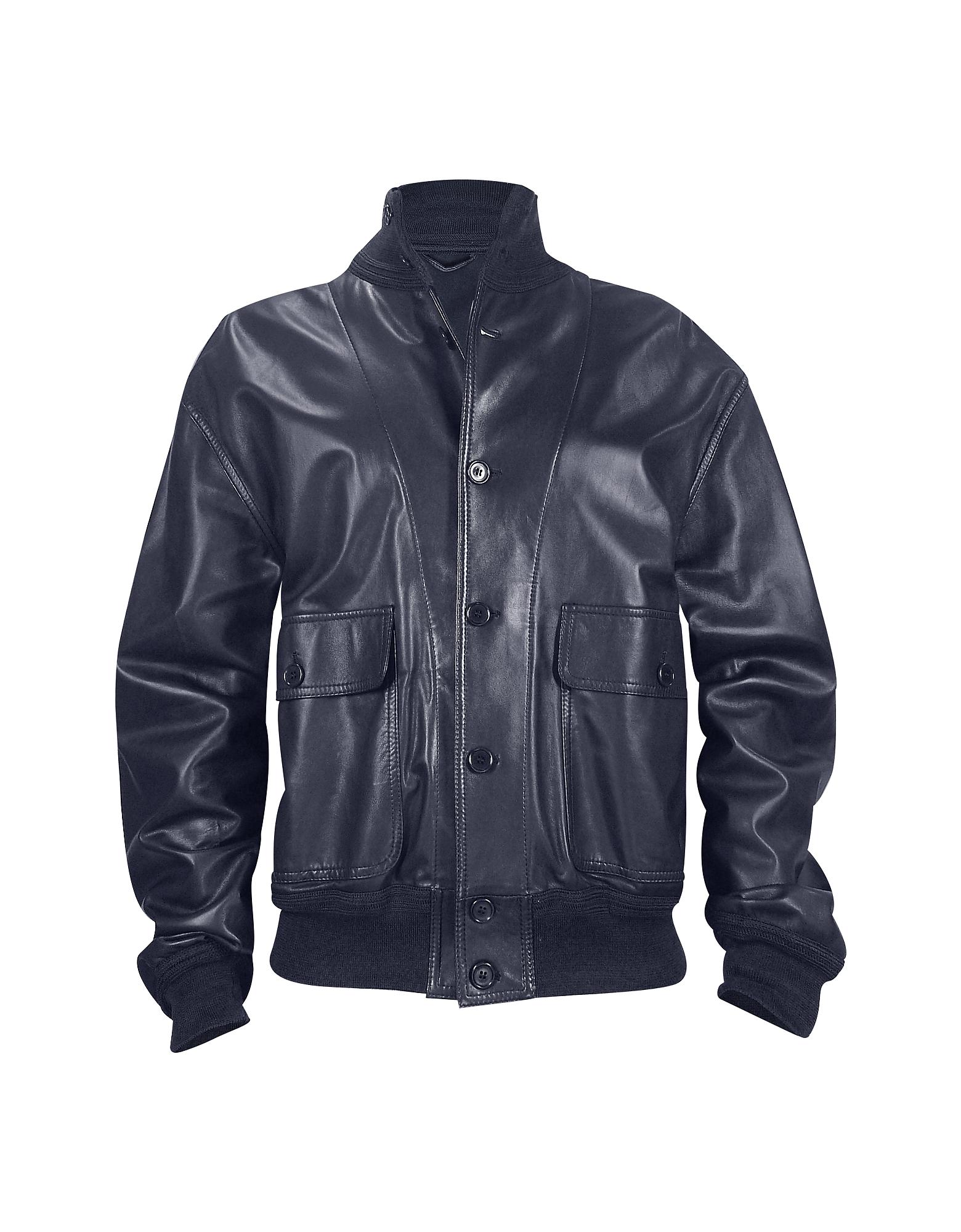 Темно-синяя Итальянская Мужская Куртка из Кожи Наппа с Двумя Карманами