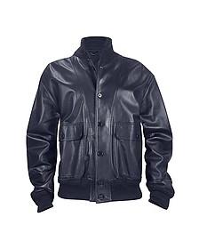 Темно-синяя Итальянская Мужская Куртка из Кожи Наппа с Двумя Карманами - Schiatti & C.