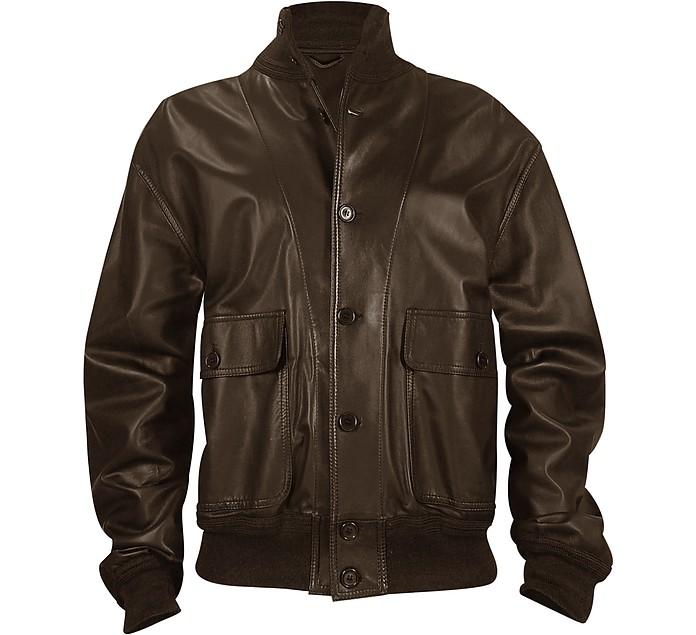 Men's Dark Brown Italian Nappa Leather Two-Pocket Jacket - Schiatti & Co.