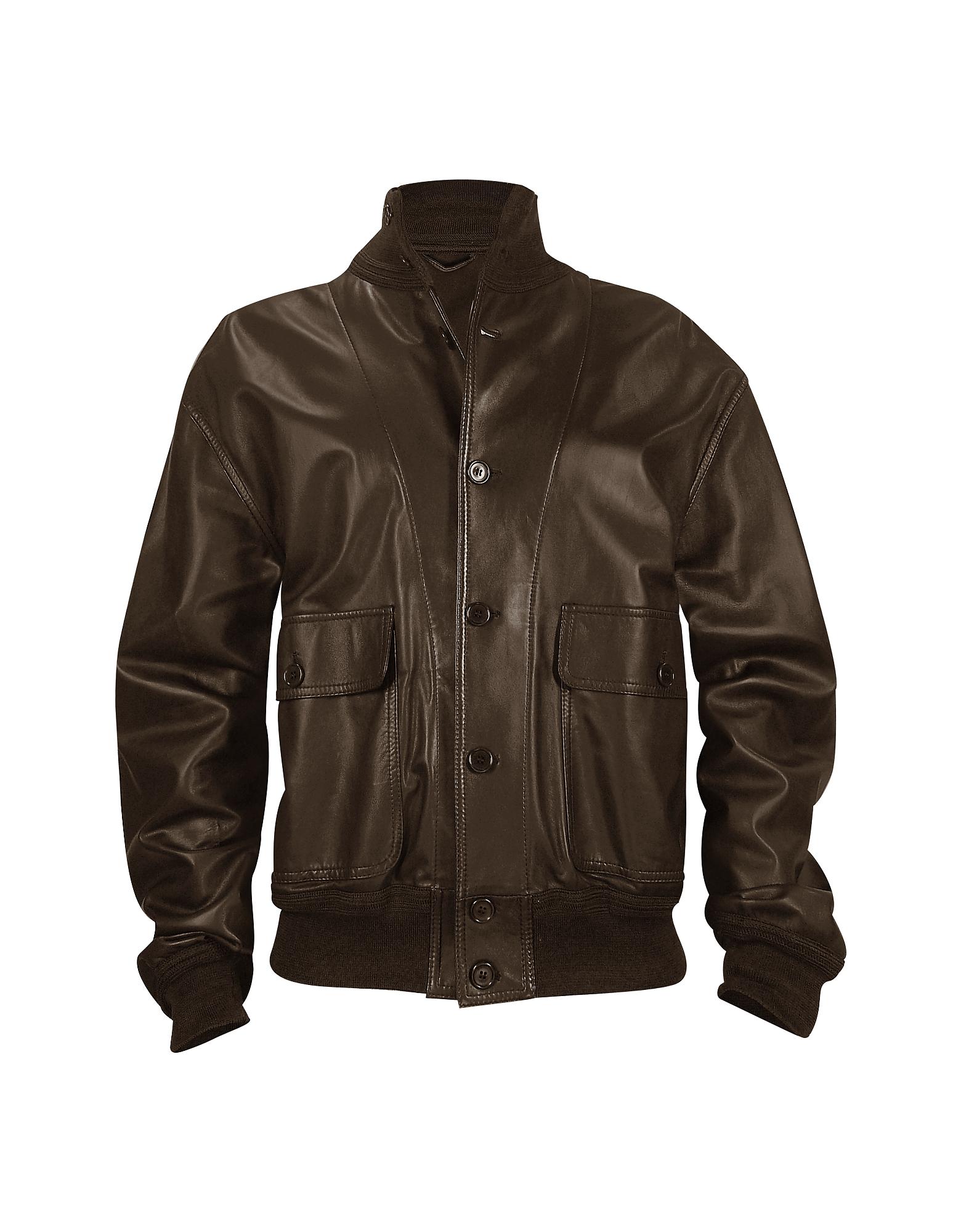 Темно-коричневая Мужская Куртка из Кожи Наппа с Двумя Карманами