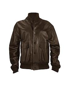 Темно-коричневая Мужская Куртка из Кожи Наппа с Двумя Карманами - Schiatti & C.