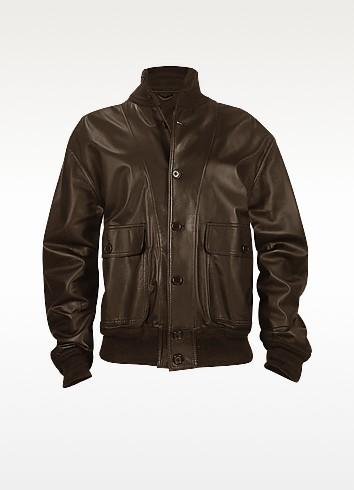 Men's Dark Brown Italian Nappa Leather Two-Pocket Jacket - Schiatti & Co.