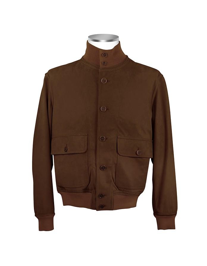 Men's Dark Brown Italian Suede Two-Pocket Jacket - Schiatti & Co.