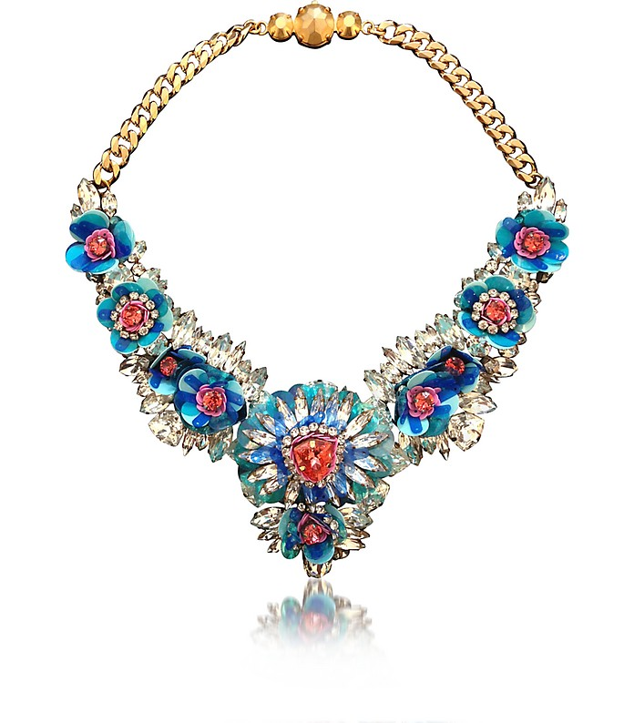 Blue Apolonia Flower Necklace w/Crystals and Sequins - Shourouk