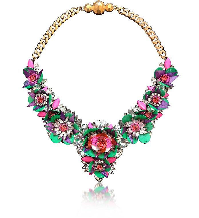 Green Apolonia Flower Necklace w/Crystals and Sequins - Shourouk