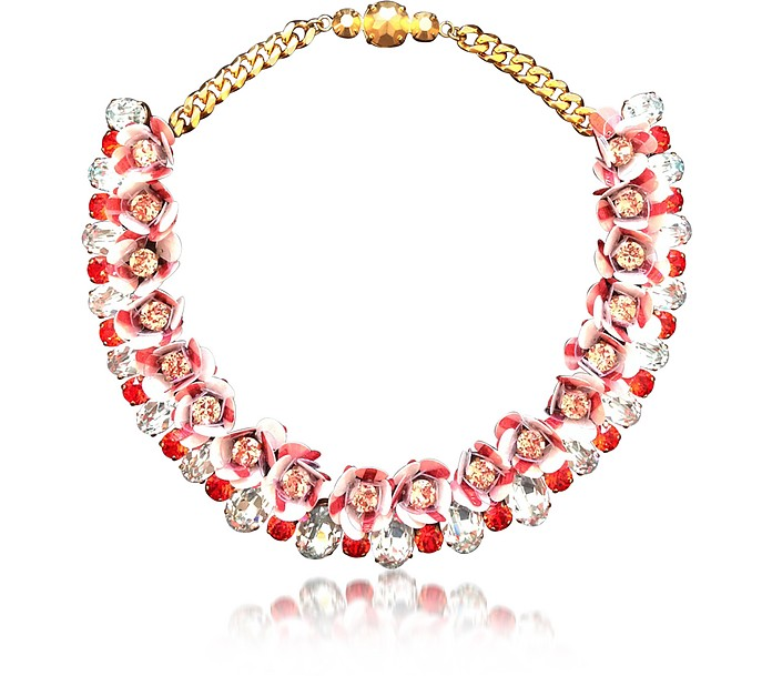 Flora Peach Necklace w/Crystals and Sequins - Shourouk