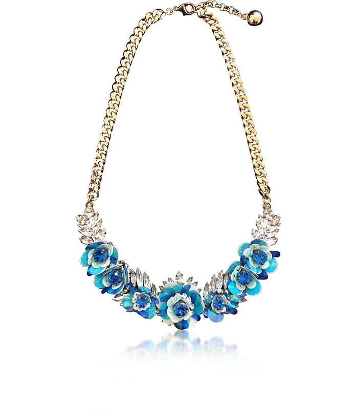Capri Blue Rosa Necklace w/Crystals and Sequins - Shourouk