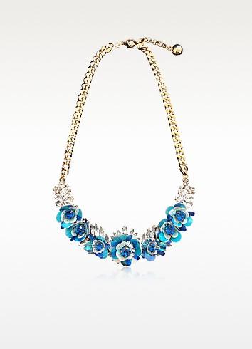 Capri Blue Rosa Necklace w/Crystals and Sequins - Shourouk
