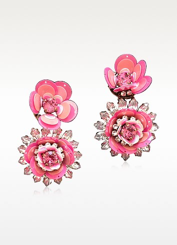 Pink Flower Earrings w/Crystals and Sequins - Shourouk