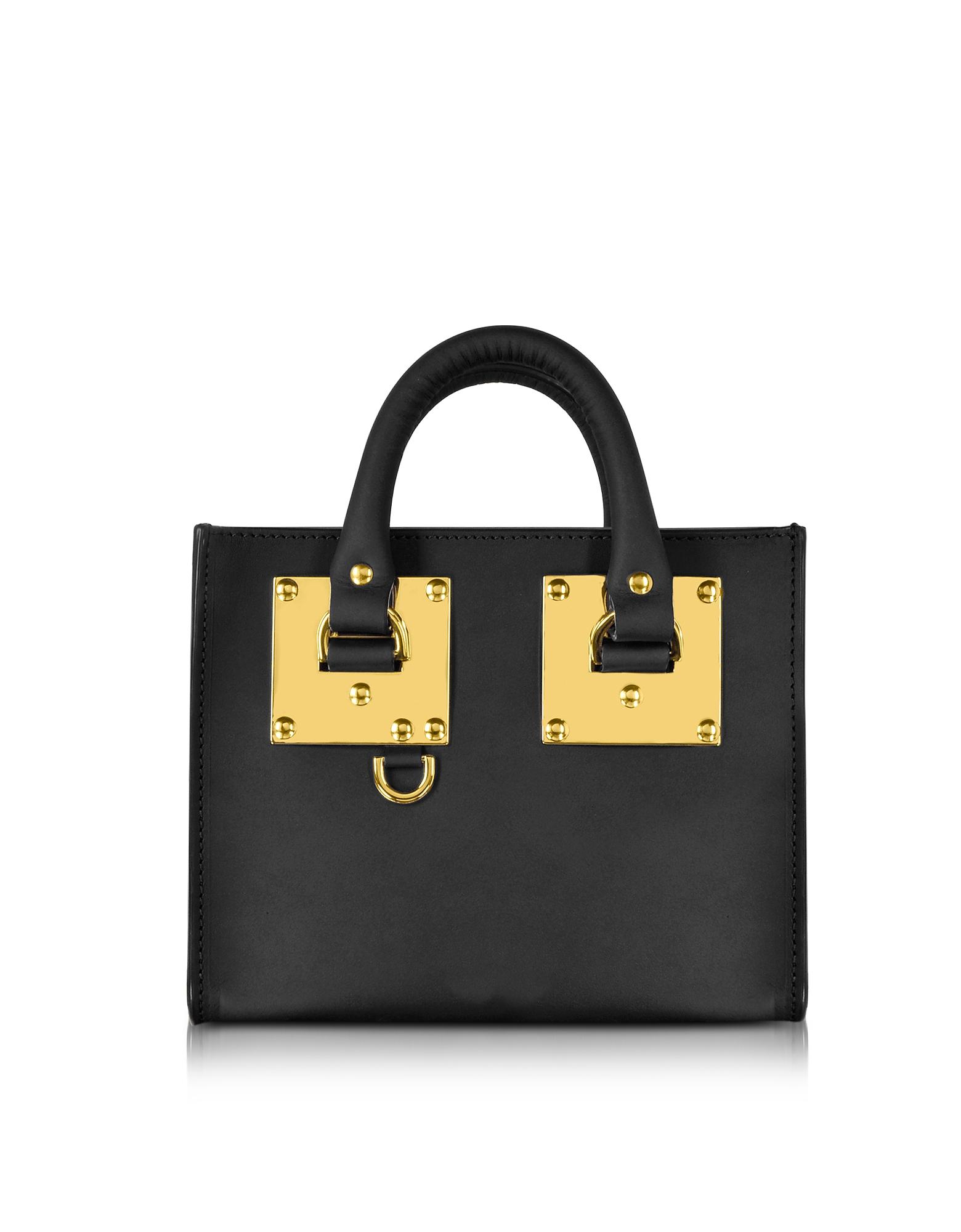 Sophie Hulme Handbags, Black Leather Albion Box Tote Bag